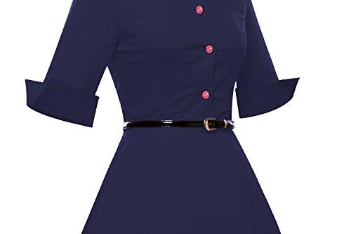iLover 50s Rockabilly cru Audrey shirt de style swing robe de cocktail Bleu