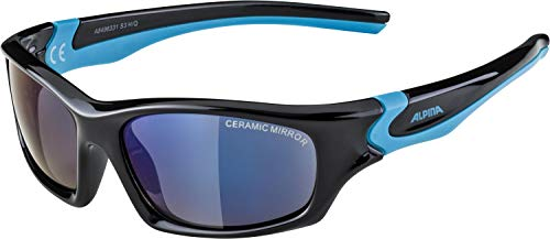 Alpina Kinder Sonnenbrille FLEXXY TEEN Outdoorsport-brille, Black-Cyan, One Size