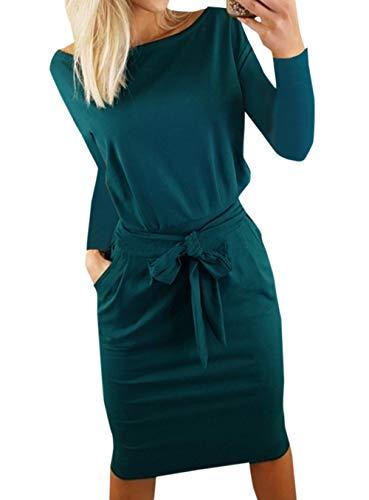 Ajpguot Damen Freizeit Kleid mit Gürtel Elegant Rundhals Midi Kleider Blusenkleider Ballkleid Festkleid Frauen Langarm Tasche Wickelkleider Abendkleider Partykleid, Dunkelgrün, S -