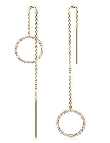WISTIC Damen Threader Ohrringe mit Kristall Tropfen baumeln Ohrringe für Mädchen Frauen Silber Gold Rose Gold Chain Ohrringe (Ohrring-gold Für Frauen)