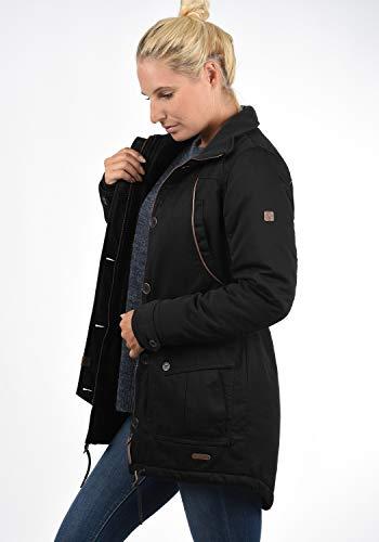 DESIRES Annabelle Damen Übergangsparka Parka Übergangsjacke Lange Jacke mit Kapuze, Größe:XS, Farbe:Black (9000) - 4
