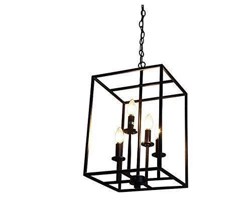 Retro Lichtpendant Industrial 4-Light Küche mit quadratischem Metallkäfig in schwarzer großer Kronleuchter-Deckenleuchte, die Foyer-dekorative Befestigung für Esszimmer-Restaurant-Café-Bar-Lager hängt
