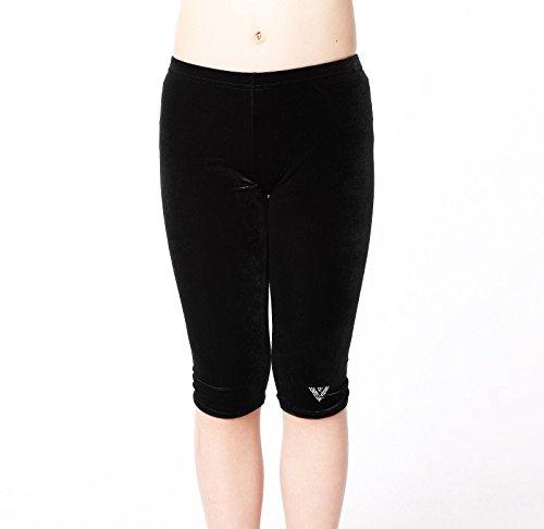 k-Leggings, einfarbig, Schwarz, Samt, Capri, Tanzkleidung, Workout, Ballett-Strumpfhosen, Gymnastik-Leggings für Mädchen (K) von Varsany, 11-13 Jahre ()