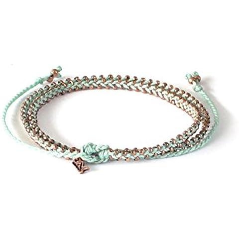 Esperanza hecha a mano verde menta Cobre Wrap tobillo muñeca pulsera de perlas de collar de Golden & grabado Charm