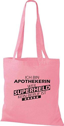 Shirtstown Stoffbeutel Ich bin Apothekerin, weil Superheld kein Beruf ist rosa