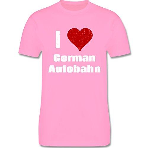 Automotive - Ich liebe deutsche Autobahn - I love German Autobahn - Rennsport - L190 - Premium Männer Herren T-Shirt mit Rundhalsausschnitt Rosa