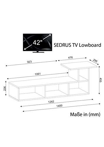 Wohnwand Anbauwand Wohnwandkombi TV Medienwand Lowboard SEDRUS in Weiss 1902 - 4