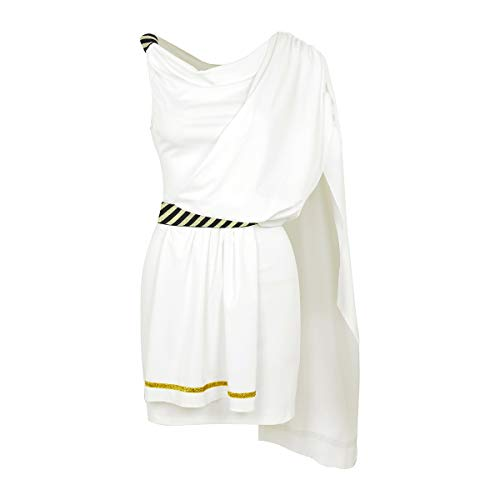 Toga Kostüm Party Outfit - CHICTRY Damen Kostüm Kleid Classic Toga Tunika Ancient Greek Grecian Womens Abend Party Cosplay Karneval Verkleidung Weiß XX-Large