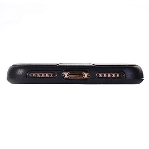 "MOONCASE iPhone 7 Coque, Dual Layer Hybrid Brushed Armure Defender Housse Slim Fit Durable Anti-choc Protection Étuis Case pour iPhone 7 4.7"" Hotpink Noir"