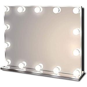 Star Vision Hollywood Spiegel mit Beleuchtung, Beleuchteter Schminkspiegel für Schminktisch, 14 Dimmbare LED-Lampen, Mehrere Farbmodi, Tischplatte oder Wandhalterung, Groß