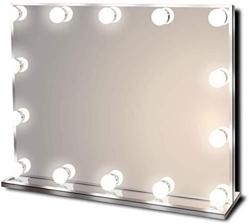 Star Vision Hollywood Spiegel mit Beleuchtung, Beleuchteter Schminkspiegel für Schminktisch, 14 Dimmbare LED-Lampen, Mehrere Farbmodi, Tischplatte oder Wandhalterung, Groß -