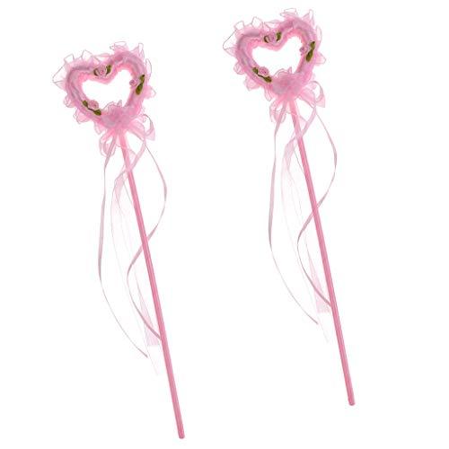 P Prettyia 3 teilig Pink Zauberstab mit Herzaufsatz lang Fee Prinzessin Zauberfee Magische Zepter Cinderella Kostüm Zubehör