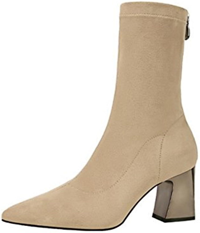ZHZNVX HSXZ Zapatos de Mujer Suede Primavera Otoño Comfort Novedad Moda Botas Botas Señaló la convergencia para...
