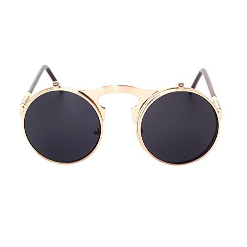 Haodasi Fashion Circle Retro Metallrahmen Sonnenbrille Flip-Up Objektiv Sonnenbrille
