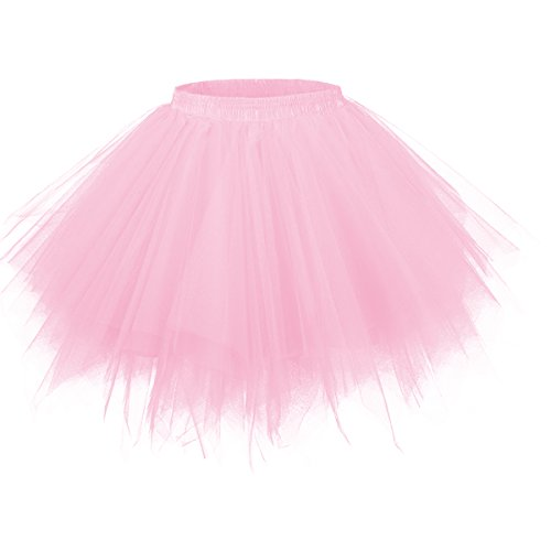 GirstunmBrand Damen 50er Vintage Tüllrock Petticoat Mehrfarbig Bubble Tanzkleid Rock Rosa-L/XL