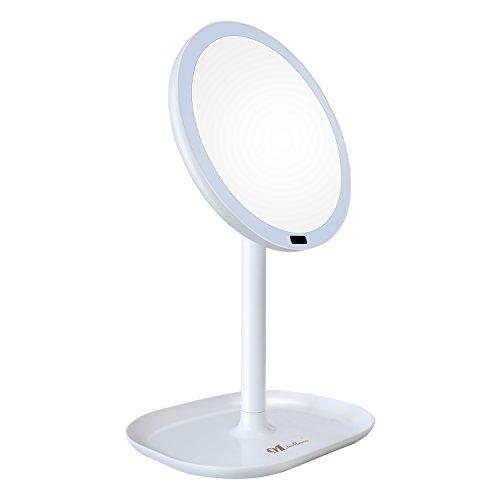 MissMeeca Espejo de Maquillaje con Sensor infrarojo Iluminado automáticamente 30 LEDs 360° de Rotación, aumento x7 (Blanco)