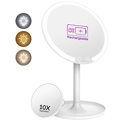EASEHOLD Kosmetikspiegel mit Licht 1/10 Fach Vergrößsung und Akku Schminkspiegel mit 3 Beleuchtungseinstellungen Make Up Spiegel Via Touch-Screen und 90° Schwenkbar