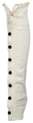 HENGSONG Damen Gestrickt Beinstulpen Kniestrümpfe Winter Stiefel Socken Beinlinge Strümpfe mit Spitzen Knopf (Weiß) (Knie Länge Winterstiefel)