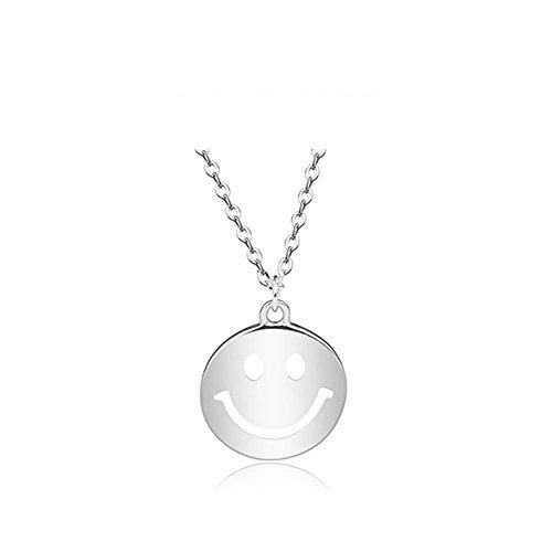 Aoligei 925 Sterling Silber-Smiley-Gesicht Runde Halskette Exquisite europäische und Amerikanische Schlüsselbein
