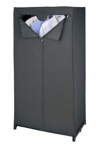Wenko 43821010100 Kleiderschrank Deep Black, Kunststoff - Peva, 75 x 150 x 50 cm, Schwarz