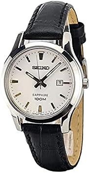 ساعة سيكو صفير للنساء مينا ابيض بسوار جلدي - SXDG65P1