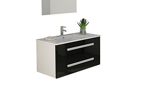 Jet-line locarno - set di mobili da bagno, lavabo, mobiletto, frontale, nero, lucido