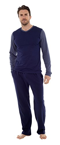 Mens Pyjama Set Long Sleeve Top & Pants Cotton Pjs (LARGE, Blue With Mid Blue Sleeves)