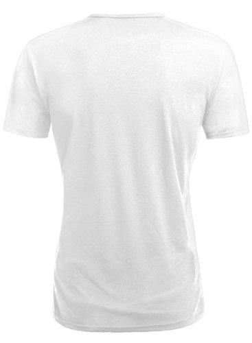 HEMOON Herren Slim Fit Kurzarm T-Shirt Basic V-Ausschnitt Tee Einfarbig Weiß