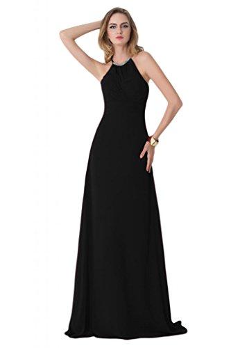 Sunvary Scoop, con allacciatura al collo, da donna, con cerniera, per damigella d'onore, in Chiffon Prom Gowns Black