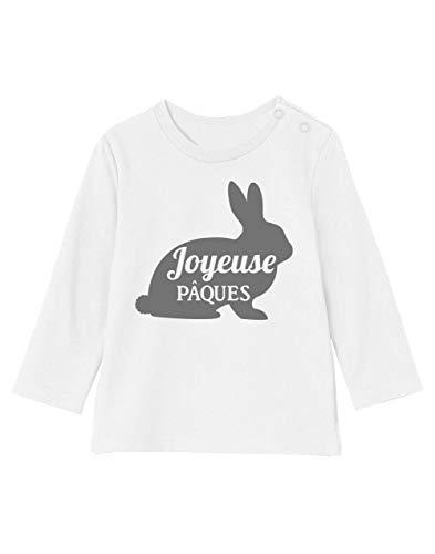 Joyeuse pâques - Lapin de pâque T-Shirt Bébé Unisex Manches Longues 12-18M 76/89cm Blanc