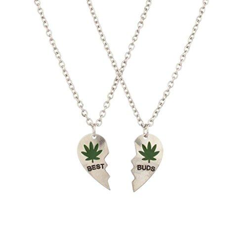 LUX Zubehör Buds BFF Best Friends Herz Valentine Forever Topf Marijuana Leaf Ketten (2PC).