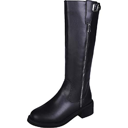 SDSDCC boot Frauen booten Neue flache niedrige Ferse kniehohe Damen Reißverschluss Schnalle Stretch Bein Kalb Stiefel PU Leder schlanke Stretch hohe Stiefel schwarze Schuhe,Black-6UK/39EU -