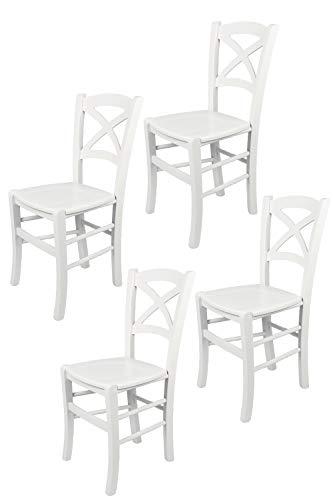 Tommychairs - 4er Set Stühle Cross für Küche und Esszimmer robuste Struktur aus lackiertem Buchenholz im Farbton Weiss und Sitzfläche aus lackiertem Holz in der Farbe Weiss