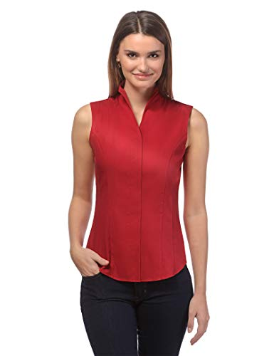 Vincenzo Boretti Damen Bluse mit Kelchkragen leicht tailliert 100% Baumwolle bügelleicht Kurzarm ärmellos Hemdbluse mit Stehkragen elegant festlich auch für Business rot 38