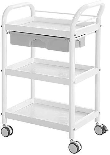 Salon Trolleys, Salon Trolleys, Rollwagen für Medizinische Instrumente Mit Schubladen, ABS-Gebrauchslagerwagen mit Universalbremsrad (Color : White, Size : 50×36×88cm)