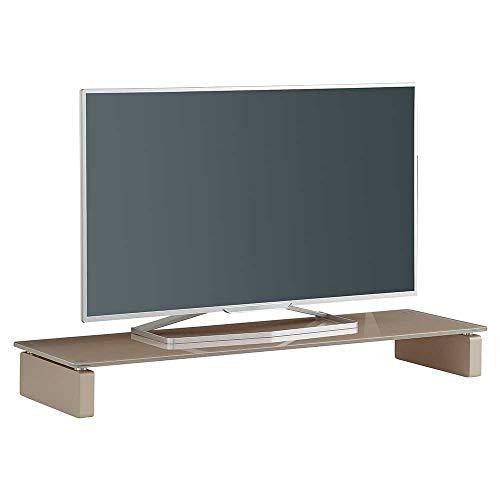 Pharao24 Flaches TV Board in Beige Glas 110 cm breit