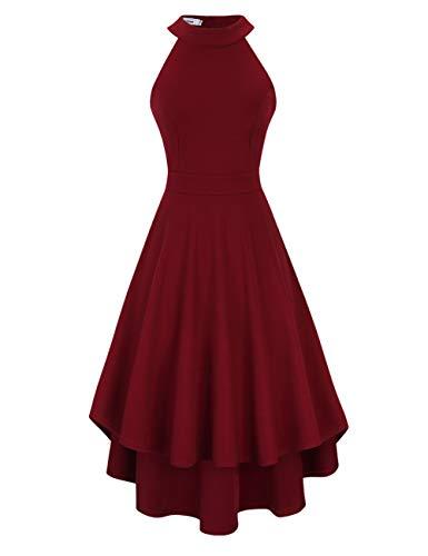 Clearlove Damen Abendkleid Ärmellos Cocktailkleid Neckholder Brautjungfernkleid Elegant Asymmetrisches Partykleid, Weinrot-nicht Rückenfrei, S