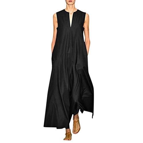 Maxi Kleid Damen Casual Sommerkleid Kurzarm Lange Kleid Mit Tasche Lose Strandkleider HoheTaille - Perlen Wolle Anzug