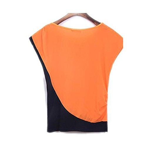 LOBZON Damen Tunika Bluse, Einfarbig Orange