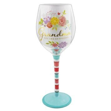Grandma you are so special Wine Glass - Blooming Lovely Floral & Gold Design