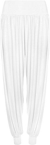 WearAll - Damen Übergröße Harem hose lange Länge elastisch - Weiß - 40-42 (Original Taille Hose Stretch)