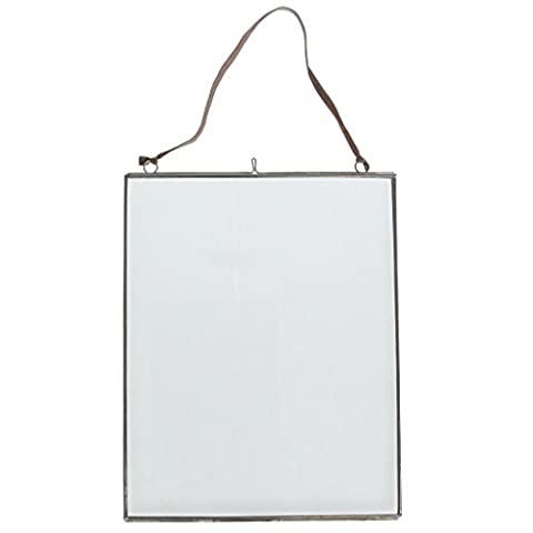 Hanging Glass Picture Photo Frame - Choice Of Size & Colour ( Large Silver - 25 x 20cm )
