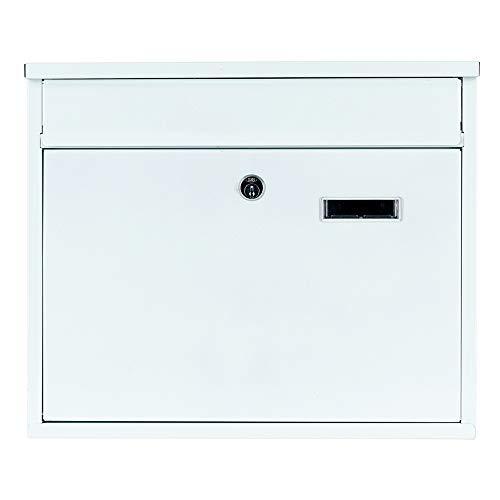 Briefkasten Wandbriefkasten Weiß extra Lackschicht gegen Rost Mailbox Briefkastenanlage Postkasten Stahl Weiß 30x36x10 Montagematerial und 2 Schlüssel inclusive (Weiß 36x30cm)
