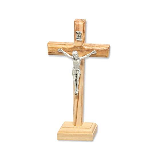 Stehkreuz Standkreuz Altarkreuz Olivenholz naturfarben lackiert mit Metall Korpus Christus Körper 12 x 6,5 cm Kruzifix mit Fuß Trauerkreuz Reisebegleiter
