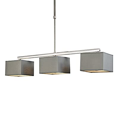 QAZQA Modern Dining Room / Dining Table Pendant Lamp / Pendant Light Ceiling VT 3 Square Grey / Fabric / Oblong Suitable for LED E27 Max. 3 x 60 Watt / 3-way / Indoor Lighting / Lights / Lamps / Liv - inexpensive UK light shop.