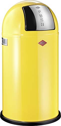 Wesco 175 831 Pushboy Abfallsammler 50 Liter Lemongelb 40 x 40 x 75.5cm (L/B/H), Edelstahl