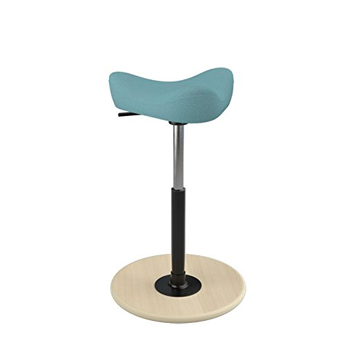 Varier Move Small - Sgabello per Tavoli ad Altezza Regolabile, Support in Posizione Semieretta -Base in Legno Naturale e Tessuto turchese di Alta Qualità