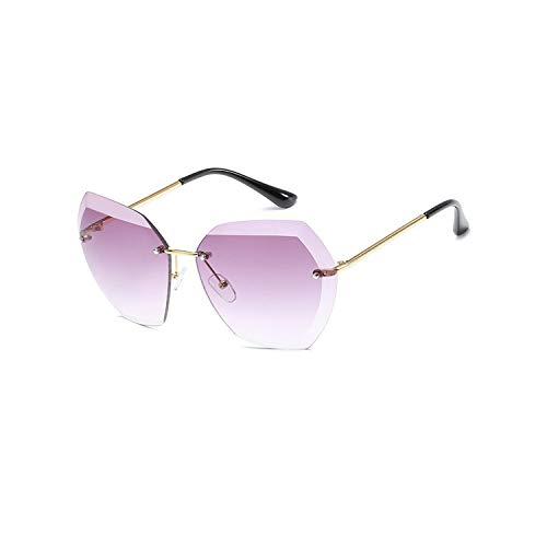 Sportbrillen, Angeln Golfbrille,New Sunglasses For Women NEW Ladies Rimless Diamond Cutting Lens Brand Designer Ocean Shades Vintage Sun Glasses Uv400 gold purple