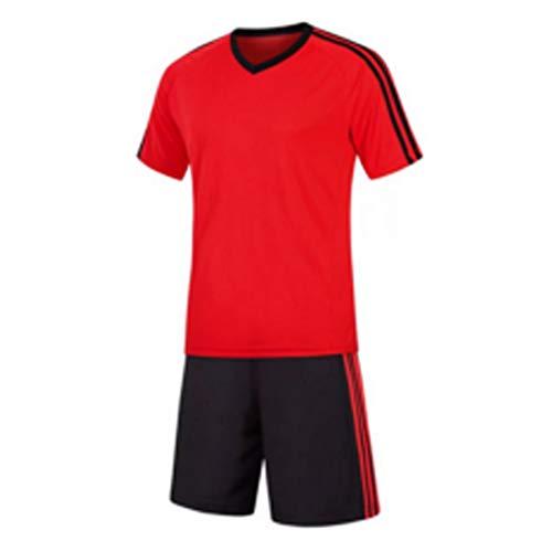 Kinder-spiel-fußball-trikot (Inlefen Football Training Suit Fußballtrikot kurzärmliges Fußballtraining Fußballbekleidung Set EIN Fußballtrikot und EIN kurzes Jugend Set A1Rot -20)