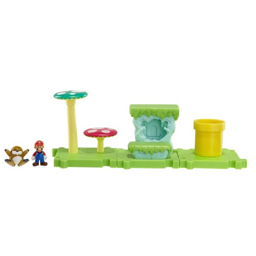 Mario Bros - World of Nintendo Micro Land Playset: Acorn Plains with Mario figura (Jakks Pacific JAKKNIN018APM)